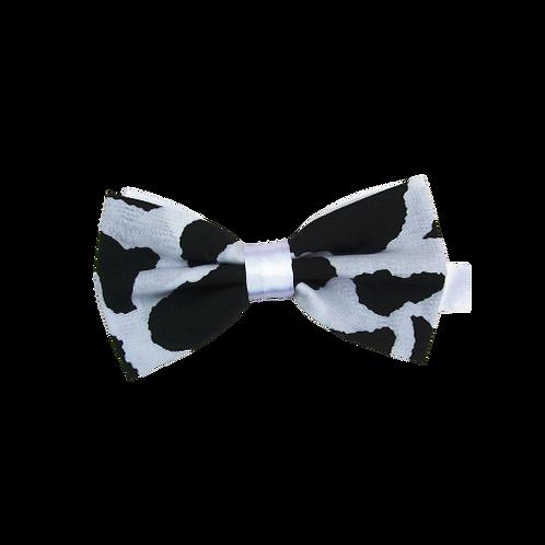 Black Cow Print Bow Tie  (Satin Finish)