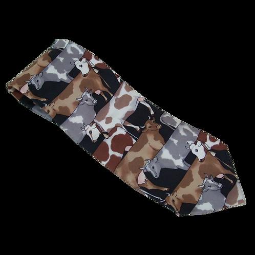 Tie 6 Tie Rack (Silk) Multi Brown Cows