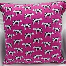 Dark Pink Cow Cushion