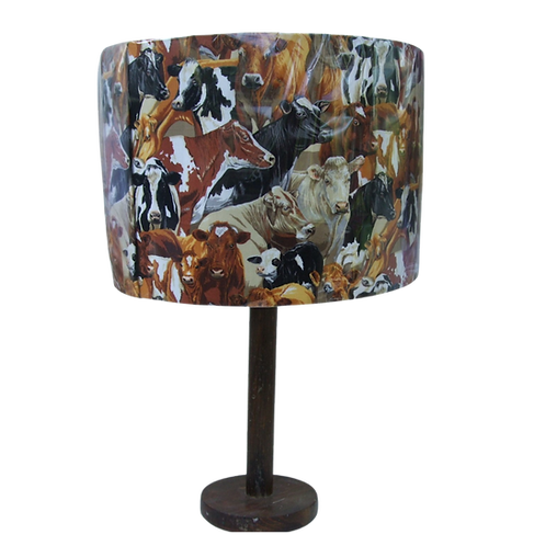 Brown Crowded Cows Lampshade