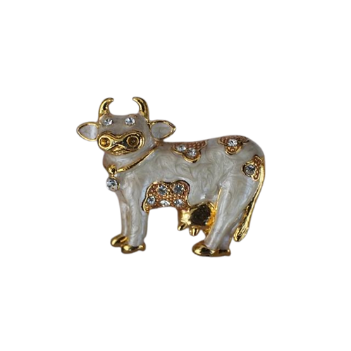 Brown or Cream Cow brooch