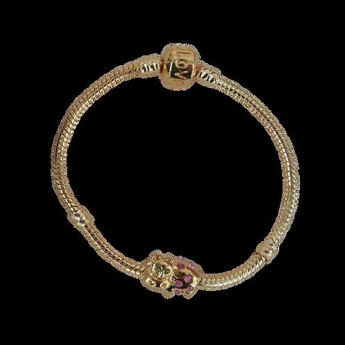 Gold Sparkly Cow Charm Bracelet
