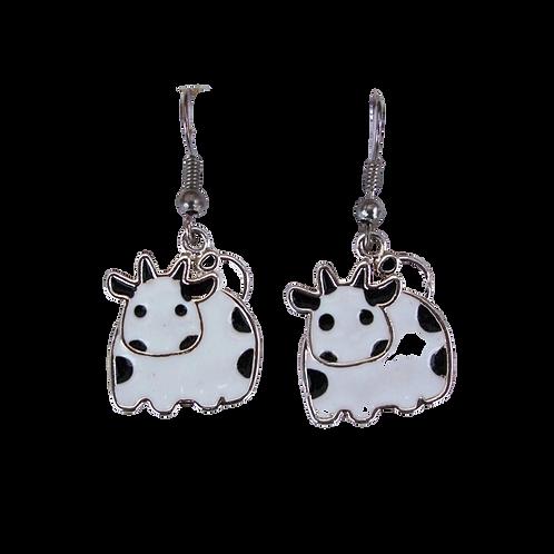 White Cow Earrings