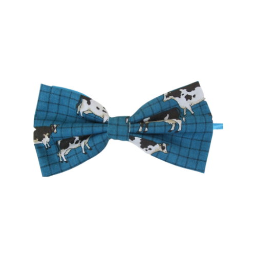Turquoise Cows Bow Tie