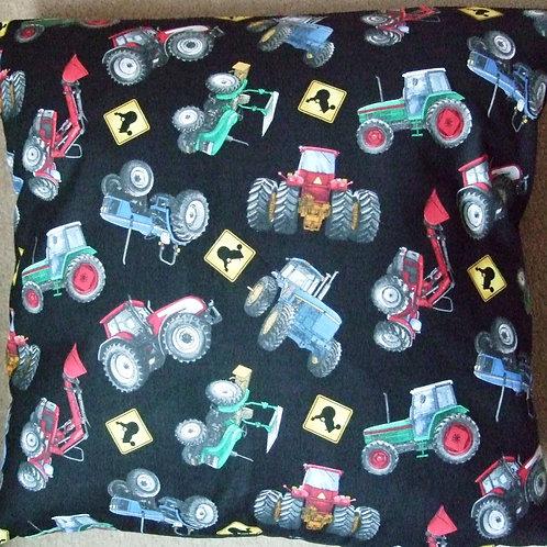 Black Tractors Cushion