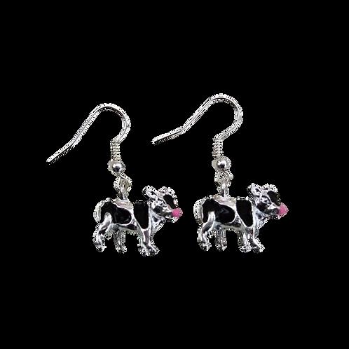3D Silver & Black Cow Earrings