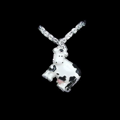 Enamel White Cow Pendant2