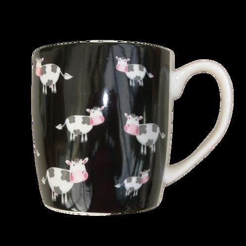 Black Mug With Cute Cows