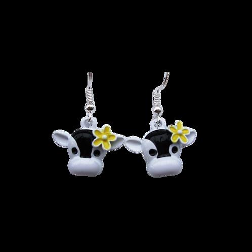 Cow Face Flower Earrings