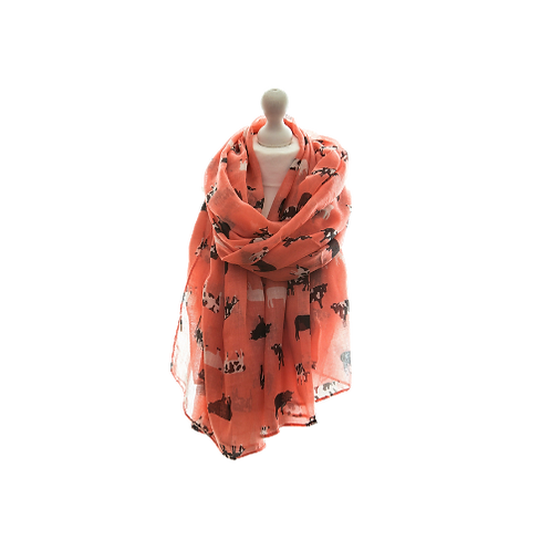 Coral or Pink Cow Scarf