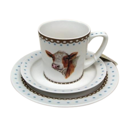 Happy Cow Cup, saucer & Plate