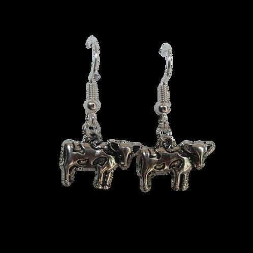 Silver Cow Earrings