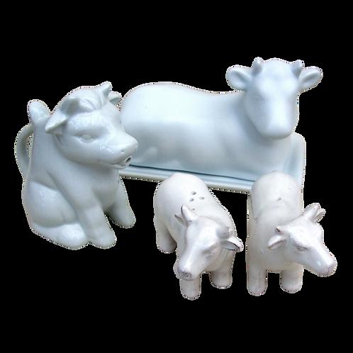 White Cow Table Set