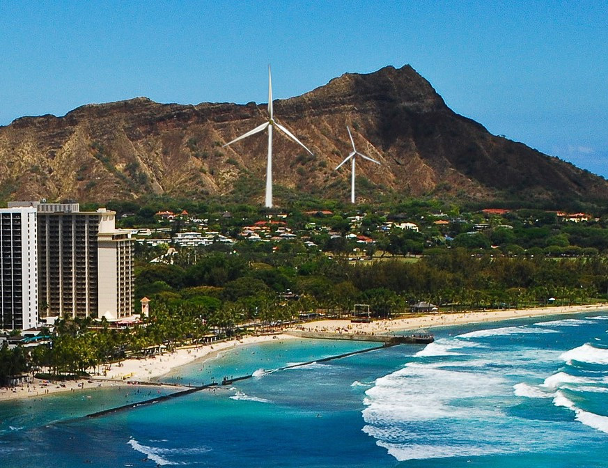 Photo illustration of the size of the proposed wind turbines compared to the existing wind turbines and Diamond Head.