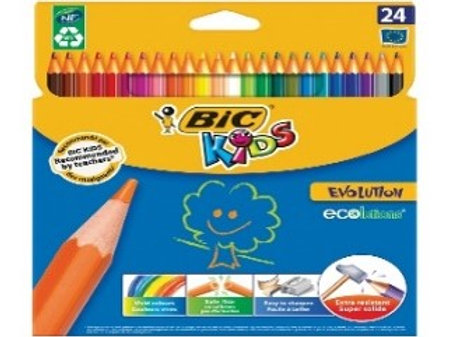 """Карандаши цветные пластиковые Bic """"Evolution 93"""", 24цв., заточен., картон"""
