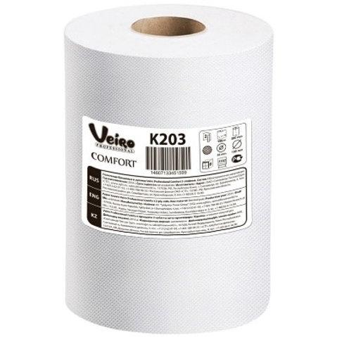 """Полотенца бумажные в рулонах Veiro Professional """"Comfort"""", 2-слойные, 150м/рул,"""