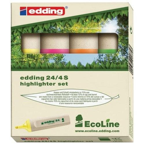 """Набор текстовыделителей Edding """"ECO E-24/4S"""" 4цв., скошенный, 2,0-5,0мм"""