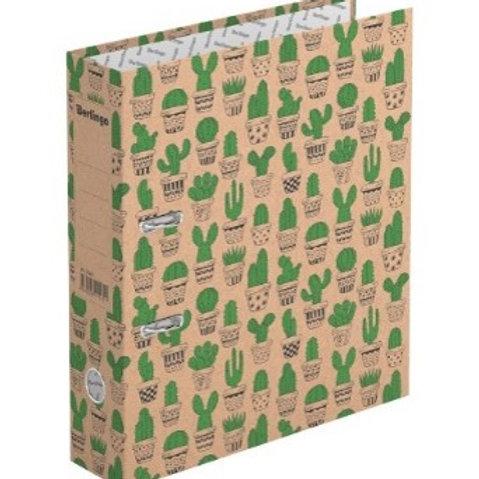 "Папка-регистратор Berlingo ""Cactus"", 70мм, крафт-бумага, с рисунком"
