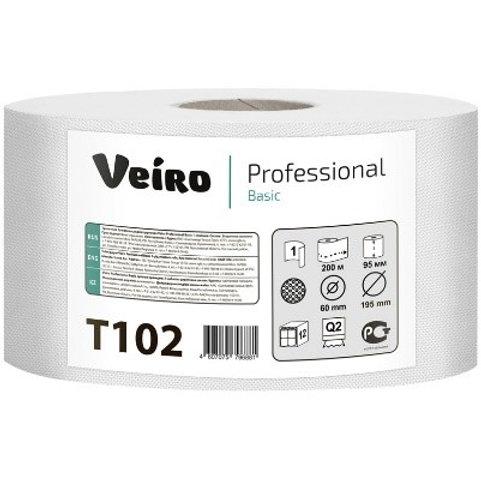 """Бумага туалетная Veiro Professional """"Basic""""(Q2, Т2) 1 слойн., 200м/рул, тиснение"""