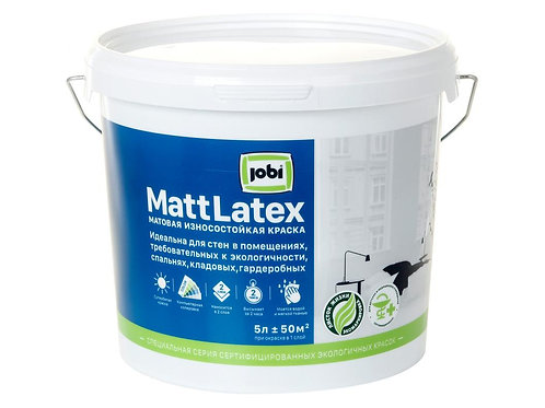 Краска JOBI MattLatex для стен в помещениях, требовательных к экологичности