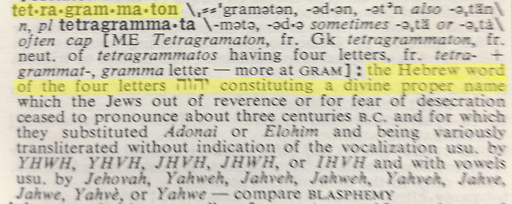 definition of tetragrammaton