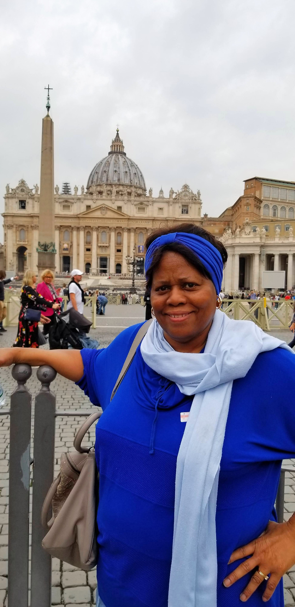 Ruth in front of St. Peter's Basilica at the Vatican (Rome, Italy)