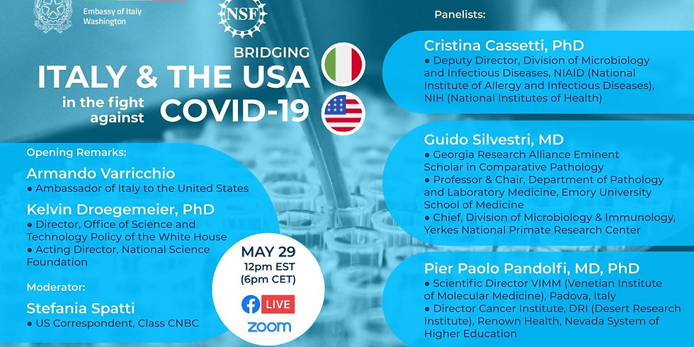"""US webinar """"Bridging Italy and the USA in the fight against COVID-19"""""""