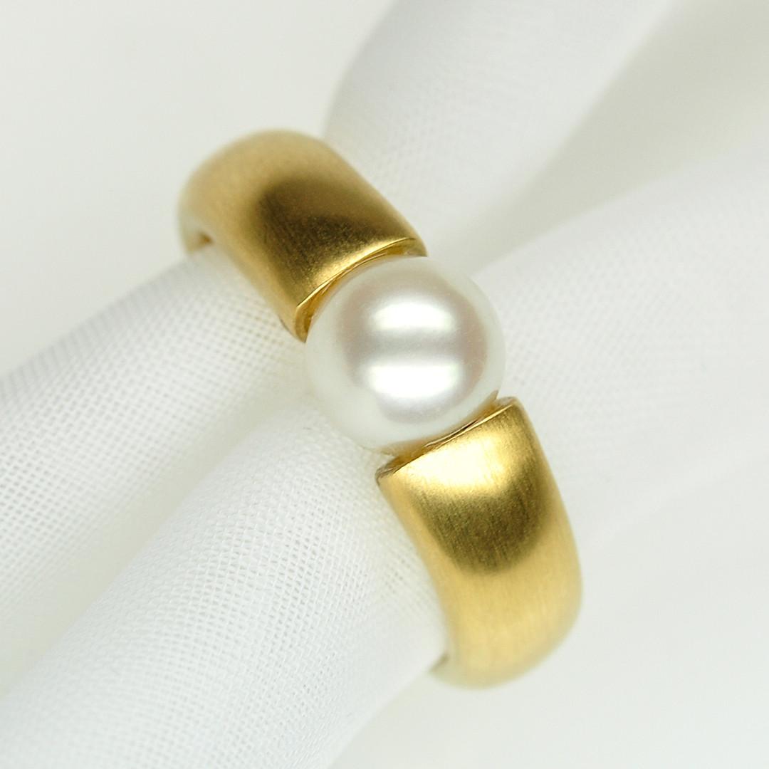 Spannring Gelbgold mit Perle