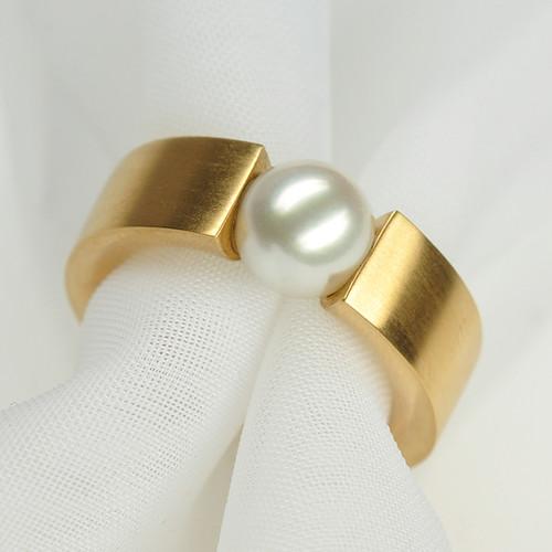 Spannring Roségold mit Perle