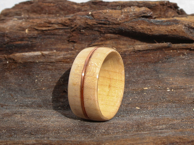 Eco-Friendly maple Wood Ring with Copper Wedding Band