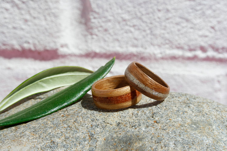 Eco-Friendly Duo Engagement and Wedding Ring Set Jasper & Sand