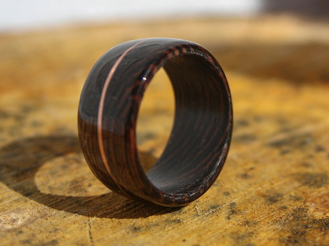 Eco-Friendly Wenge Wood Ring with Copper Inlay Wedding Band