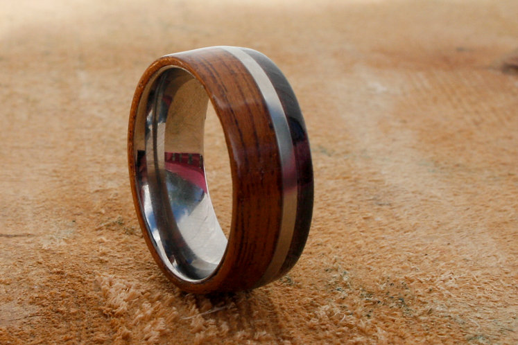 Eco-Friendly Titanium Ring Band / Wedding Band with Sapele and Dark Oak Inlays