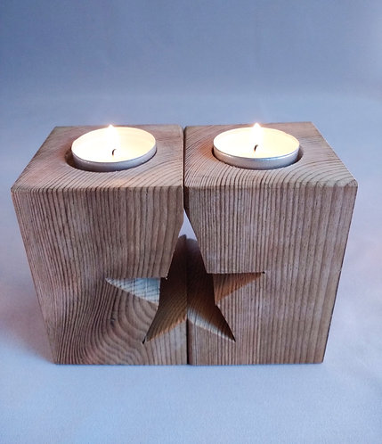 Set of 2 Mirror Tealight Holders Star (waxed)