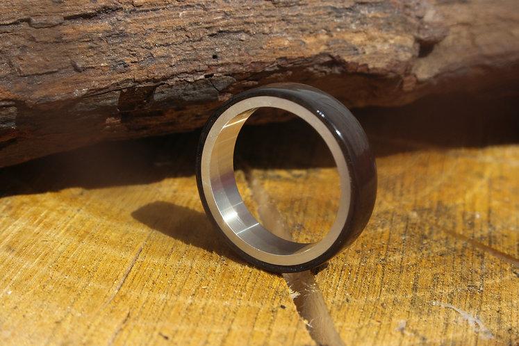 Eco-Friendly Silver and Bog Oak Ring Band / Wedding Band
