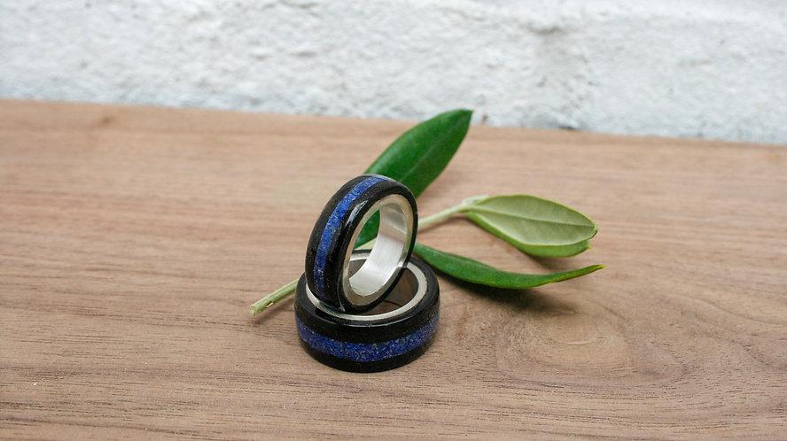 Eco-Friendly Duo Wedding Band Ring Set Silver & Lapis Lazuli