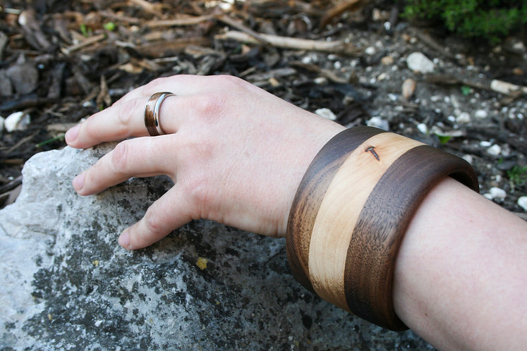 Eco-Friendly Solid Maple and Walnut Wood Bangle Bracelet