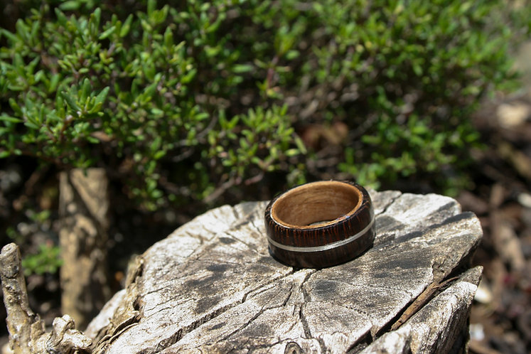 Eco-Friendly Wenge Walnut Wood Ring / Wedding Band with Silver Inlay