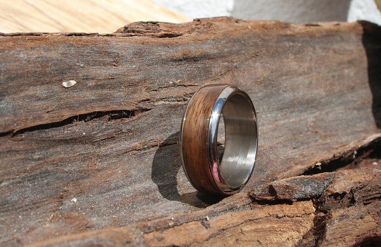Eco-Friendly Titanium and Walnut Ring Band / Wedding Band