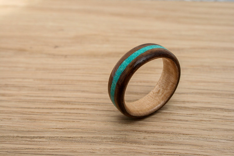 Eco-Friendly Walnut Maple Wooden Ring With Turquoise Inlay