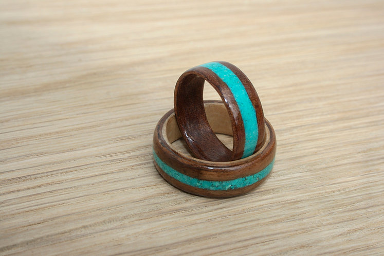 Eco-Friendly Duo Engagement and Wedding Ring Set Turquoise Inlay