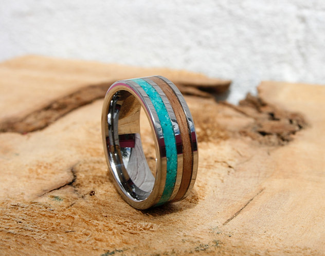 Eco-Friendly Tungsten Walnut Turquoise Ring Band / Wedding Band