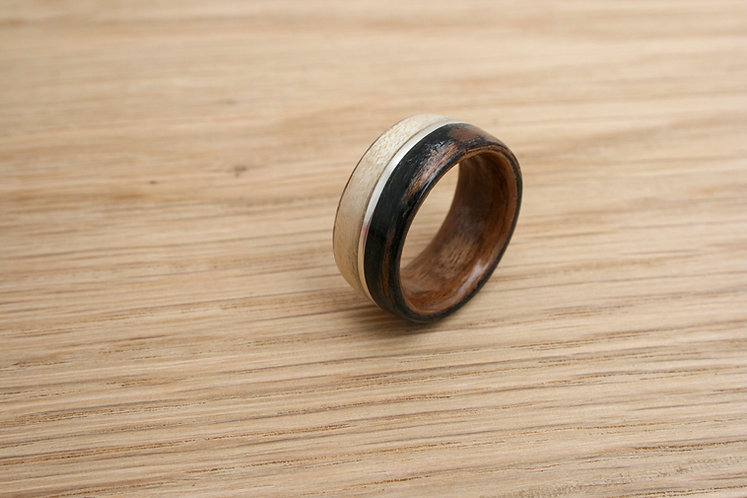 Eco-Friendly Ash/Walnut/Ebony Macassar Wood Ring Band with Silver Inlay