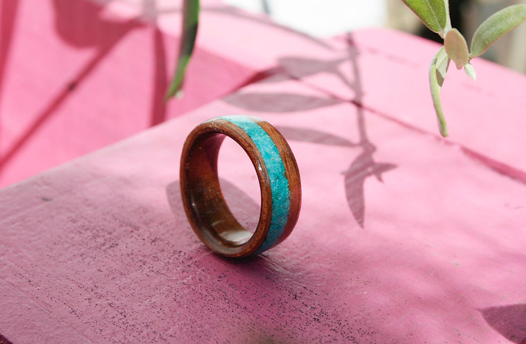Eco-Friendly Sapele Wood Ring / Wedding Band with Turquoise Inlay