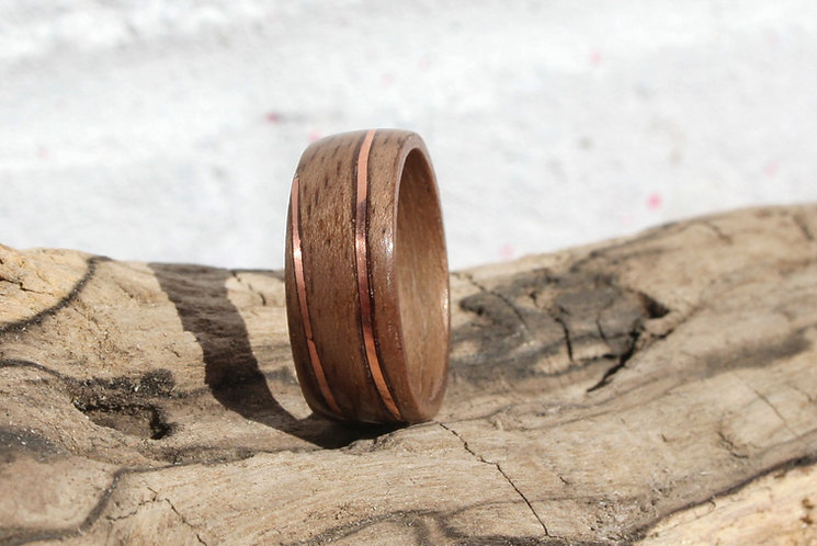 Eco-Friendly walnut Wood Ring with Spiral Copper Inlay Bentwood Ring Band