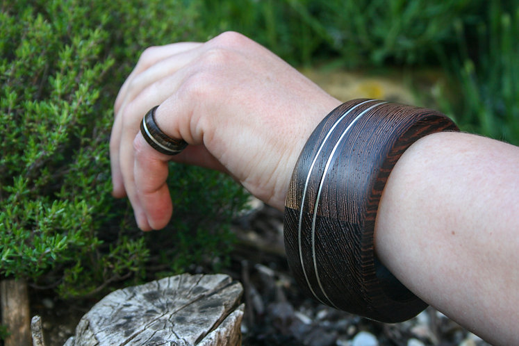 Eco-Friendly Solid Wenge Wood Bangle Bracelet with Double Offset Silver Inlays