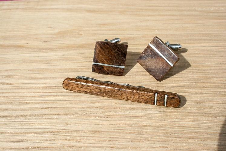 Set of Walnut Cufflinks and Tie Slide With Silver Inlays