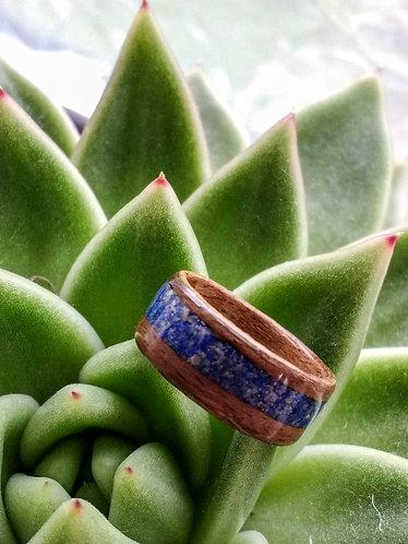 Eco-Friendly Walnut Wood Ring / Wedding Band with Lapis Lazuli Inlay