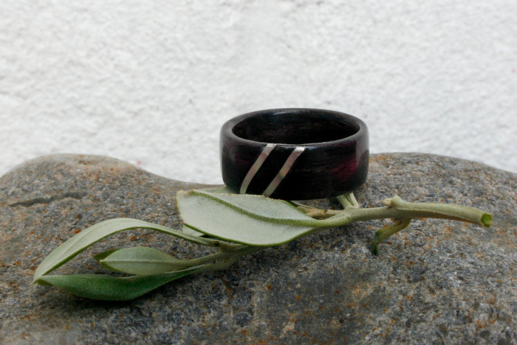 Eco-Friendly Fumed Oak Ring / Wedding Band With Double Silver Stripes