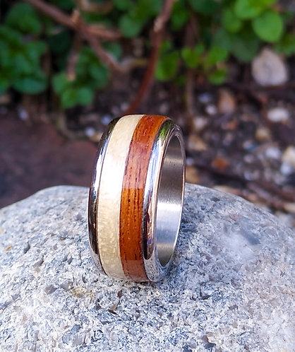 Eco-Friendly Titanium Sapele Maple Ring Band / Wedding Band